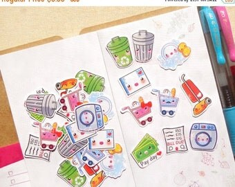 20% OFF Cleaning Stickers. Chore Stickers. Housework Sticker. Sticker for Planner. Planner Sticker. Decorative Sticker. Shopping Sticker. Fi