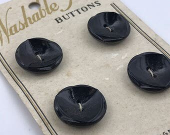Vintage European Black Glass Buttons Set of 4 on Original Card 9015