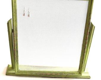 Green Vintage Tabletop Photo Frame Earring Organizer Holder