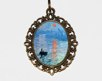 Sunrise Necklace, Claude Monet, Fine Art Jewelry, Sailing, Boat, Ocean, Sea, Bronze Oval Pendant