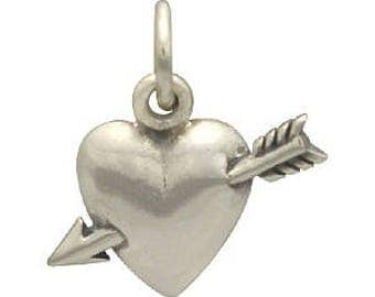 Arrow Through the Heart Charm -15mm, Sterling Silver