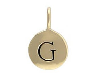 "Alphabet Charm ""G"", Natural Bronze"
