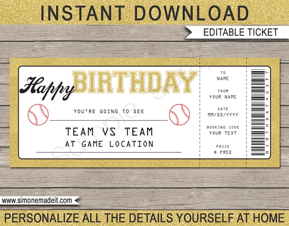 Birthday baseball game ticket gift surprise ticket to baseball il570xn yelopaper