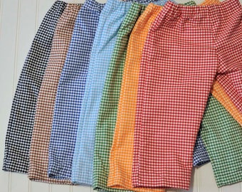 Boys Gingham shorts or pants, LINED, Child shorts, boy or girl, many colors, thanksgiving, Easter...3m,6m,9m,12m,18m,2t,3t,4t,5,6,7,8,10,12