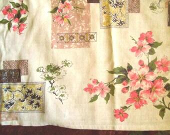Vintage Barkcloth Fabric, Pair of Curtains