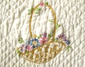 4 Quilt blocks, Hand Quilted & Embroidered, for Crafts