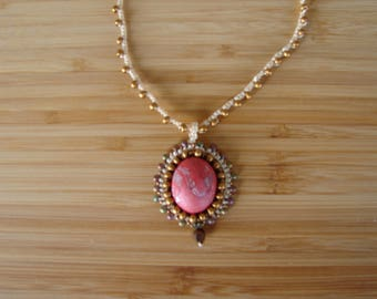 Polymer clay and micromacrame coral and gold necklace