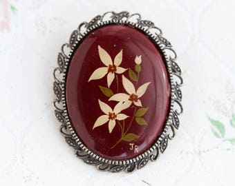 Flower Cameo Oval Brooch - Burgundy Lapel Pin - Porcelain Cabochon