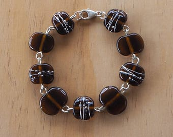 Recycled Glass Bead Bracelet.  Glass Beads made from a Beer bottle.