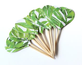 Tropical Leaf Heart Cupcake Toppers, Food Picks, Party Picks, Set of 12