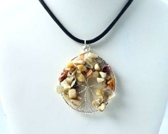 brown beaded Tree of life pendant, beaded tree of life, handmade jewelry pendant, beaded pendant, beaded jewelry, wire wrapped jewelry