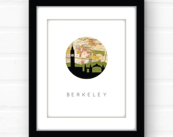 Berkeley map art | uc Berkeley illustration | Berkeley, California map art | Berkeley skyline art | California wall art | dorm room decor
