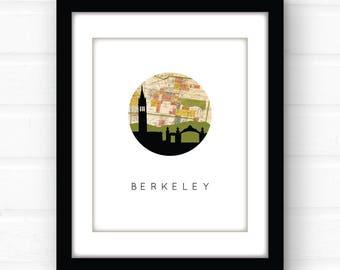 Berkeley map art | uc Berkeley illustration | Berkeley, California map art | Berkeley skyline art | California wall art | dorm room decor