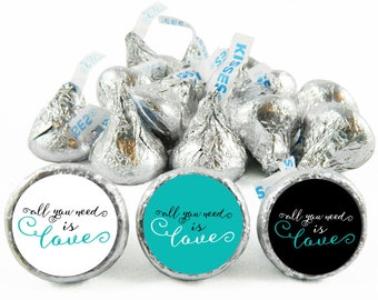 Set of 108 - All You Need is Love Stickers for Hershey's Kisses. Wedding Kiss Labels - Wedding Party Favors - #IDWED700