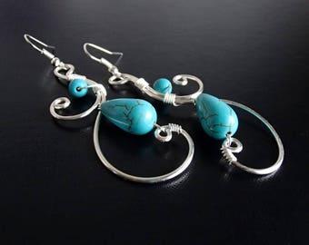 Turquoise Earrings, Silver Earrings, Wire Earrings, Wire Wrapped Jewelry, Handmade Jewelry