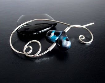 Shawl Pin, Scarf Pin, Heart Brooch, knitters jewelry, Wire brooch, Artisan Jewelry