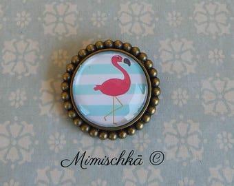 brooch pink flamingo