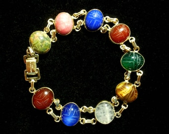 WRE SCARAB BRACELET Lots of Stones 9 in All Very Colorful!