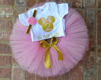 Oh Two-dles minnie mouse birthday outfit, Pink and gold minnie birthday outfit, pink gold 2nd birthday minnie mouse 2nd birthday