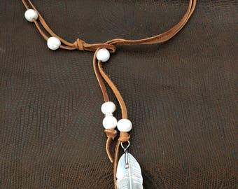 Handmade Jewelry, Leather Choker, Feather Pendant, Freshwater Pearl Choker, Southwestern Jewelry, Boho Chic, Lariat Necklace