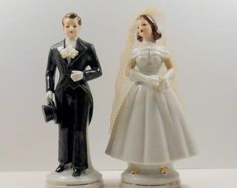 Wedding Cake Topper Bride Groom Separate Porcelain Hand Painted Sonsco Japan Vintage 1950s