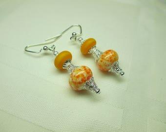 Lampwork Bead Earrings in Citrus Colors of Yellow and Orange