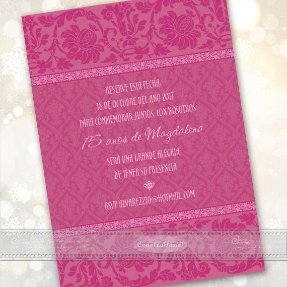 quincenera invitations, fuchsia birthday party invitations, hot pink party invitations, hot pink party, fuchsia invitations, IN636