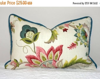 FALL is COMING SALE New P. Kaufmann Brissac Floral Print Lumbar Pillow Cover Teal Green Rose Decorative Flower Throw Pillow Covers 12x18