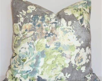 AS SEEN on The BACHELOR Grey Sage Green Blue Ivory Floral Pillow Cover Decorative Home Decor Size 20x20 22x22