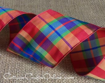 "Wired Ribbon Plaid, 2 1/2"", Orange Blue Purple Green Peach - THREE YARDS - Offray ""Brittany"" Orange Fall Tartan Wire Edged Ribbon"