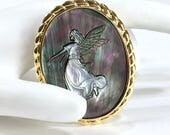 Angel Cameo Brooch or Pendant, Shell Cameo, Iridescent Abalone Shell, Gold Tone, 1960's, Angel Wings, Gift Idea, Excellent, Mother's Day