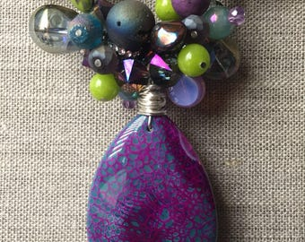 Purple and green statement necklace