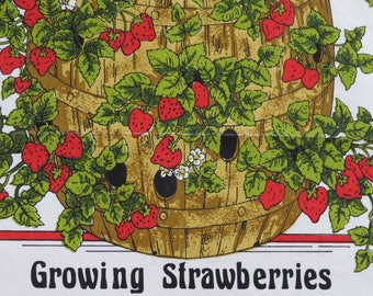 Red Strawberries Kitchen Tea Dish Towel - How to Grow Strawberries - Red Plump Juicy Fruit - Vintage Strawberry Linens Collectible - Gift