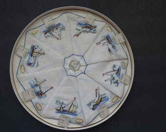 Embroidered Boats Ships Nautical Cocktail Napkins by WJ Sloane Set of 8 Fine Antique Linens Coasters Unused Original Box Collectible RARE