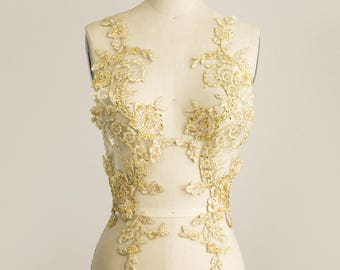 New Item! Stunning GOLD Sequin Beaded Organza Venise Floral Lace 2 Piece Applique / Wedding Dress / Available in White Ivory Black & Silver