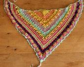 Gypsy crochet scarf, Triangle crochet scarf, Triagle Shawlette, Boho crochet scarf, Candy color scarf, Pink crochet shawl, Summer shawl