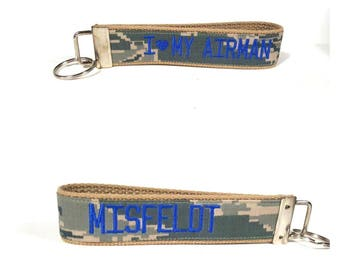US Air Force Personalized Name Key Fob in Royal Blur