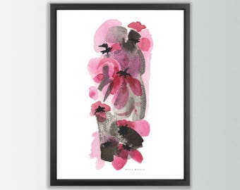 Abstract floral art print. Flower Prints Wall Art. Watercolor Flowers. Floral art print. Floral watercolor. Abstract flower painting