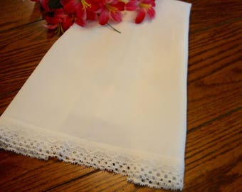 Silky White Pillowcase Lace Trim Vintage Pillow Cover Bed Linens