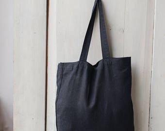 Linen Bag, Black Linen Tote, Black Tote, Linen Tote, Large Tote Bag, Large Bag, Large Shopper, Reusable Bag, Grocery Bag, Large Handbag