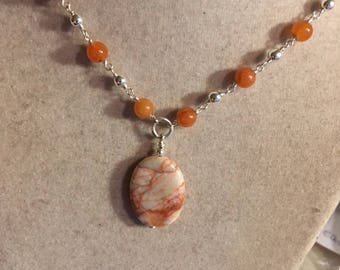Carnelian Necklace - Orange Gemstone Jewelry - Agate Pendant Jewellery - Sterling Silver - Beaded - Chain - Unique - Handcrafted