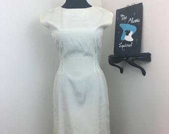 Moonlight Stroll // 1950s 1960s Pearl White Fitted Sheath Wiggke Dress
