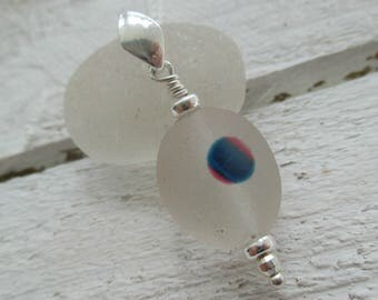 Blue & Pink Spot End Of Day Sea Glass Sterling Silver Necklace