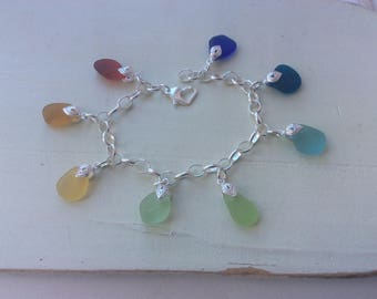 Sea Glass Sterling Silver Charm Bracelet