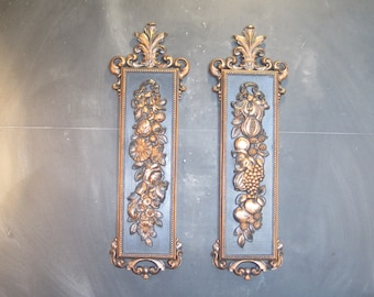 Pair of Vintage Syroco Fruit and Floral Wall Mount Plaques