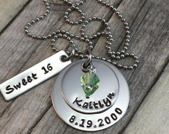 Sweet 16 Personalized hand stamped stainless steel necklace