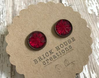 Cranberry Jeweled Earrings