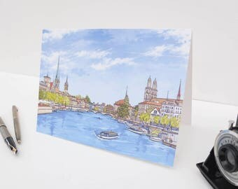 Greeting Card: Zürich River View