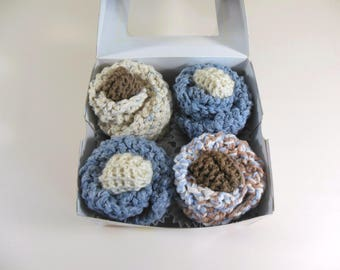 Baby Cupcakes,  Washcloth Cupcakes, Knit Cupcakes in Blue and Brown
