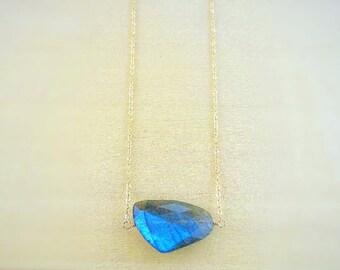 Natural Blue Labradorite Necklace, dainty layering necklace, flash blue green natural stone, otis b, minerals, crystal energy, gemstone